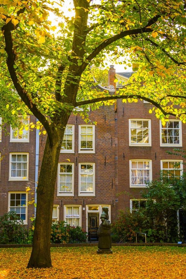 Autunno in Begijnhof, Amsterdam immagine stock libera da diritti