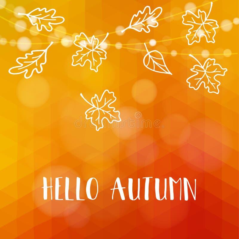 Autunno, carta di caduta Acero disegnato a mano, foglie della quercia, luci illustrazione di stock