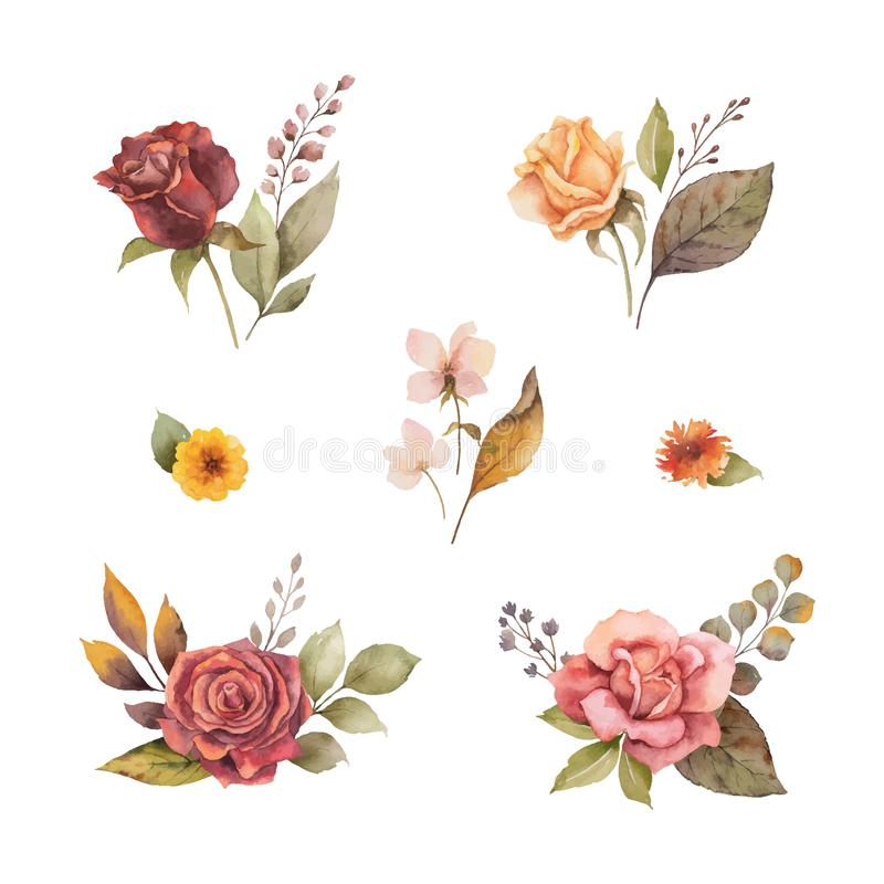 Autunno di vettore dell'acquerello fissato con le foglie ed i rami isolati su fondo bianco royalty illustrazione gratis