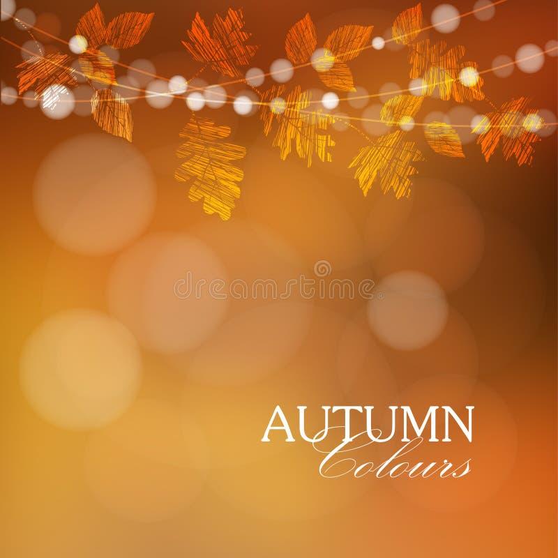 Autunno, fondo di caduta con le foglie e luci,