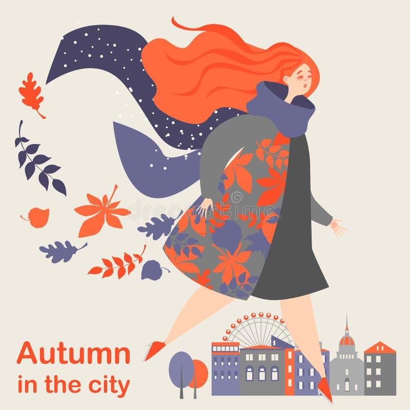 Autunno nella città Bella ragazza su un fondo di un paesaggio della città di autunno illustrazione vettoriale