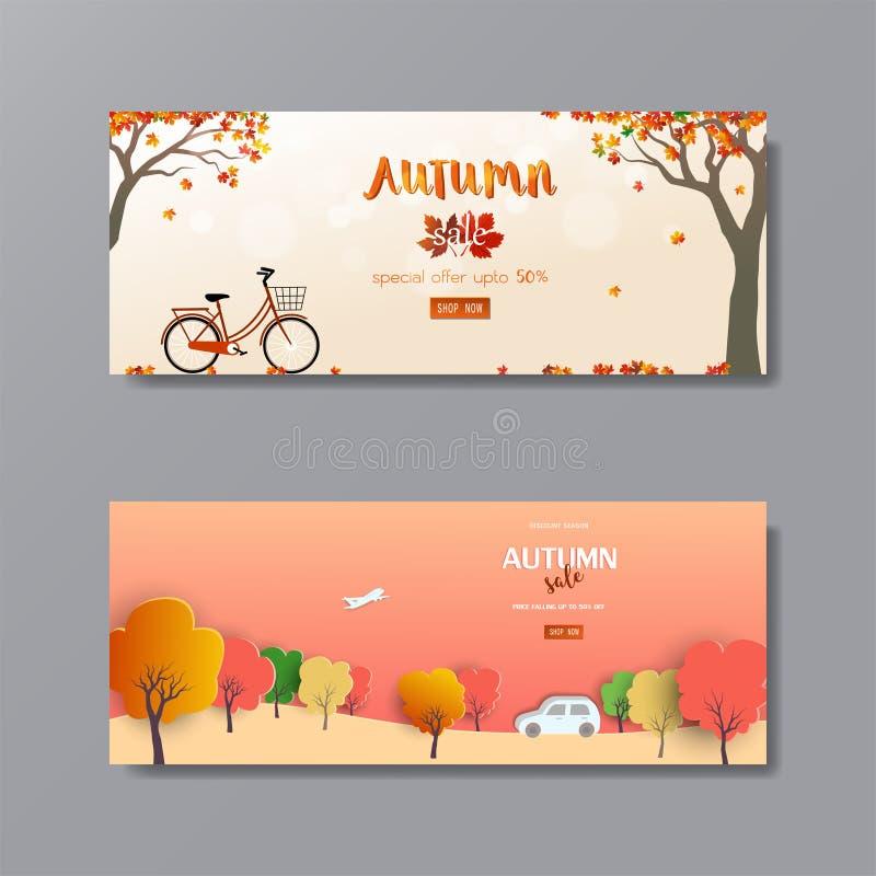 Autunno o in autunno sfondo per poster, flyer, template, banner, sito web, pubblicità, sconto voucher o shopping online illustrazione vettoriale