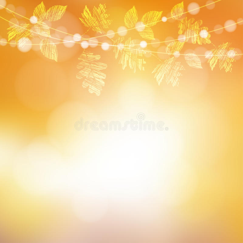 Autunno, priorità bassa di caduta Cartolina d'auguri con l'acero, le foglie della quercia e le luci del bokeh royalty illustrazione gratis