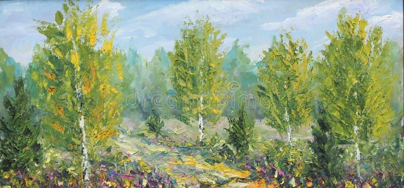 Autunno in una radura della foresta, betulla, nuvola illustrazione di stock
