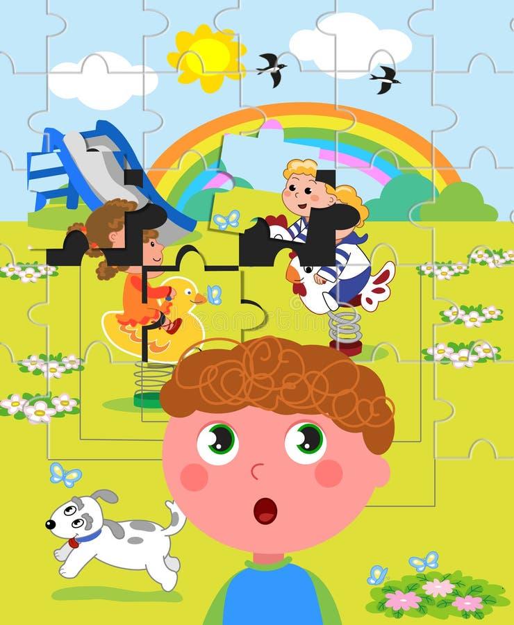 Autystyczny chłopiec wzrok ilustracji