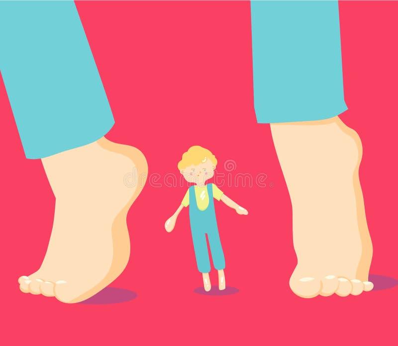 autystyczny Dziecko autyzmu widma nieład ASD Objawy autyzm w dziecku, ADHD, OCD, depresja, bezsenność, epilepsja, hyperact royalty ilustracja