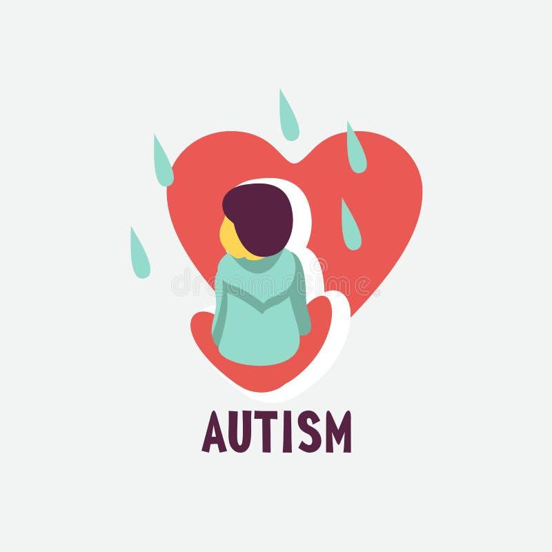 autystyczny Emblemat syndrom autyzm w dzieciach Childr ilustracji