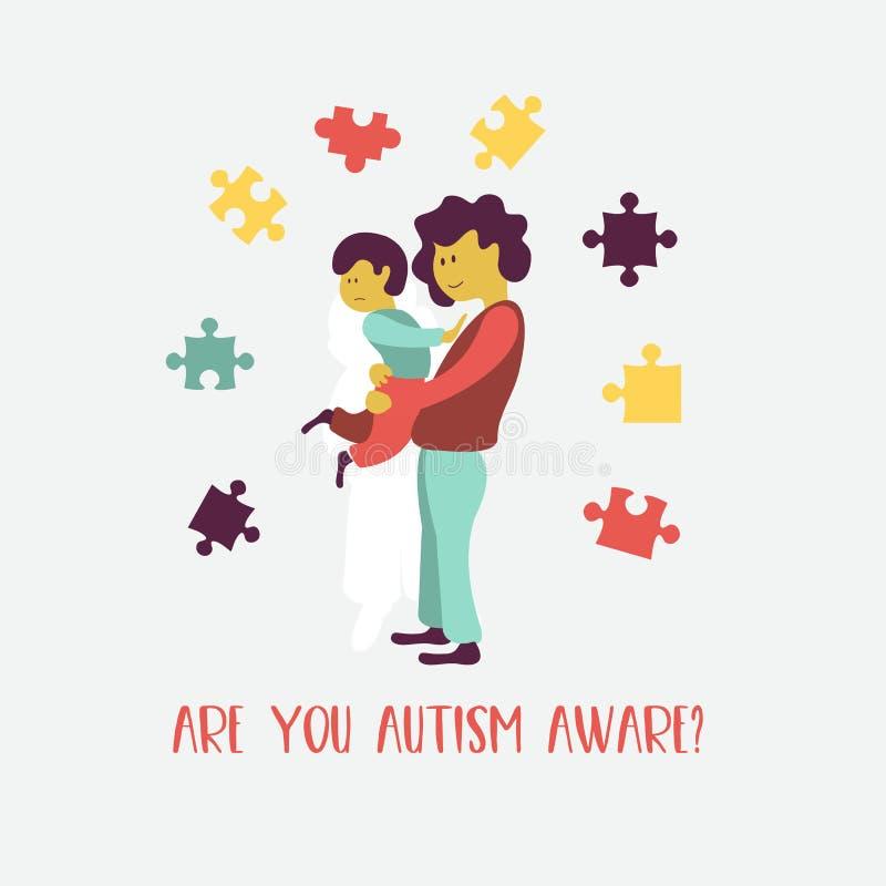 autystyczny Emblemat syndrom autyzm w dzieciach Childr ilustracja wektor