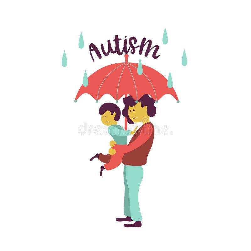 autystyczny Emblemat syndrom autyzm w dzieciach Childr royalty ilustracja