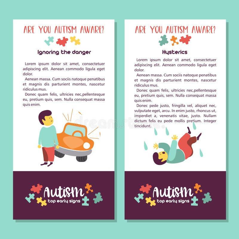 autystyczny Wcześni znaki autyzmu syndrom w dzieciach Wektorowy illus royalty ilustracja