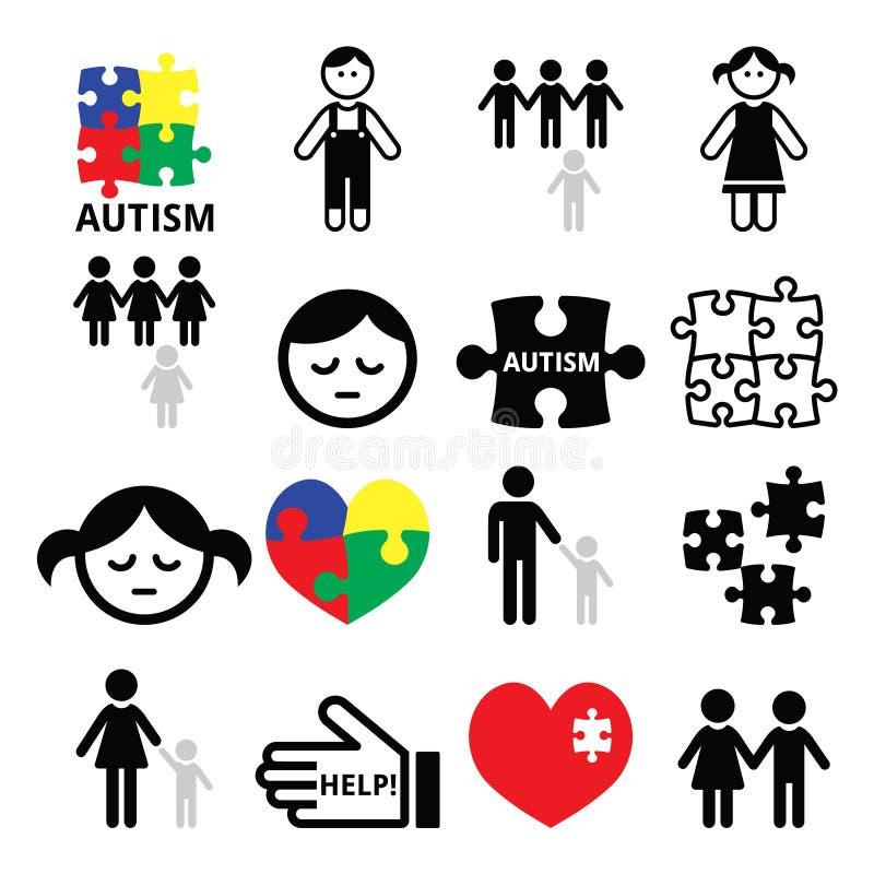 Autyzm świadomości łamigłówki, autystyczne dziecko ikony ilustracja wektor
