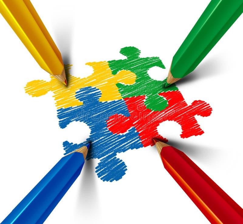 Autyzm edukaci Lub świadomości rozwiązanie ilustracji