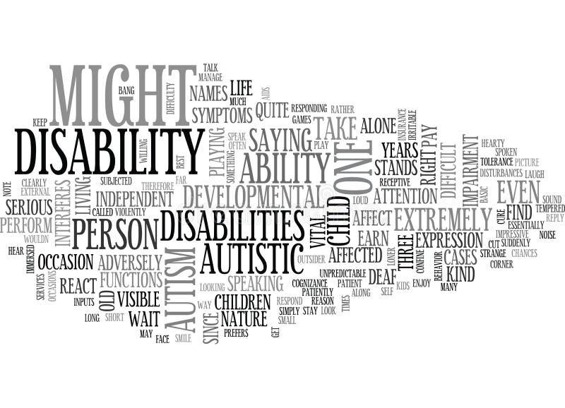 Autyzm Trudna Rozwojowa Disabilityword chmura ilustracji