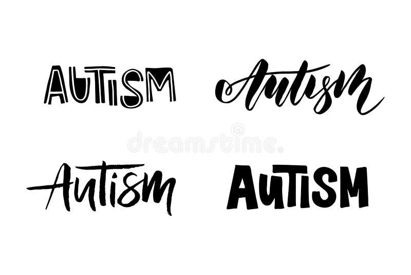 Autyzmu ręka rysujący literowanie ilustracja wektor