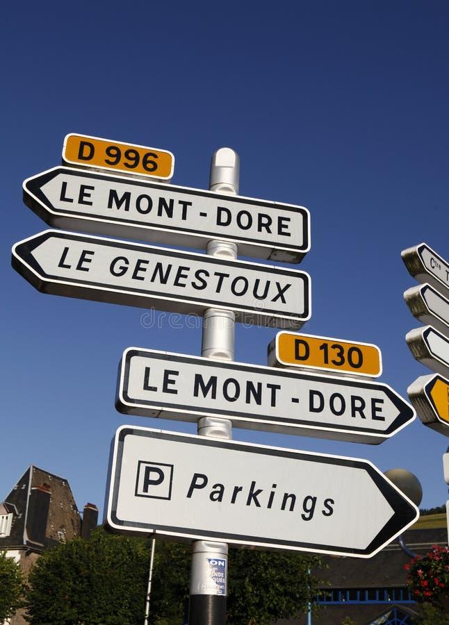 auvergne法国路标 免版税库存照片