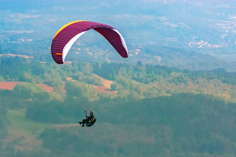 Auvergne Clermont Ferrand France paragliding France city famous landmark green. Amazing view stock photography