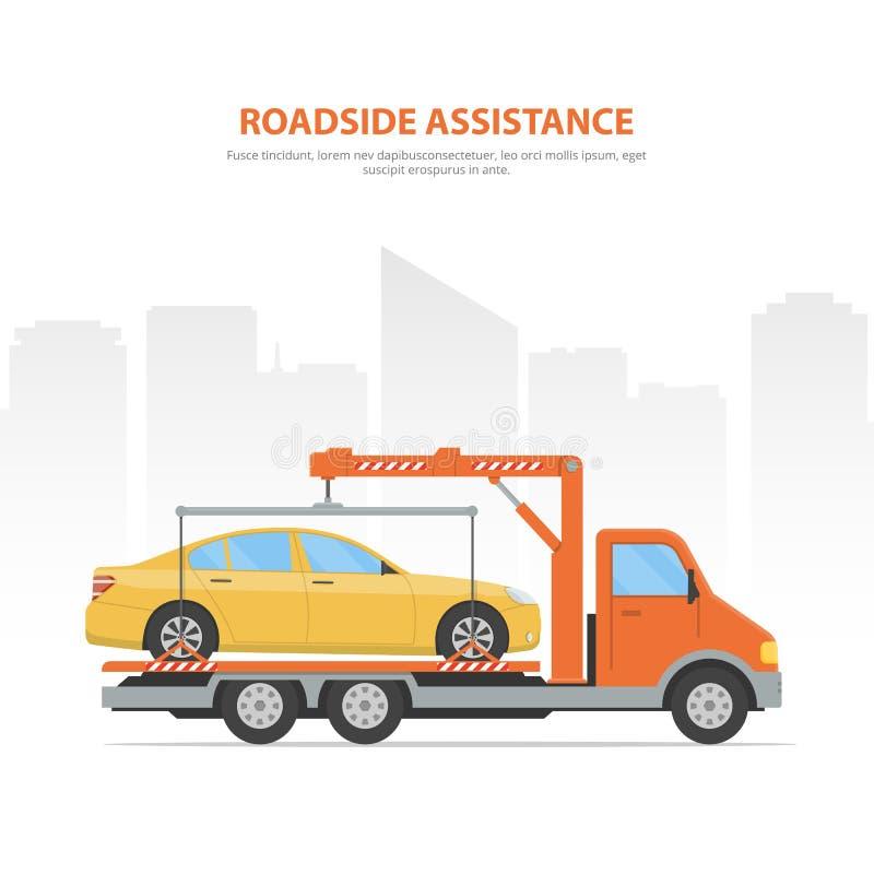 Auxílio da borda da estrada da bandeira dos desenhos animados Skyline da cidade e caminhão de reboque com o carro carregado no fu ilustração stock