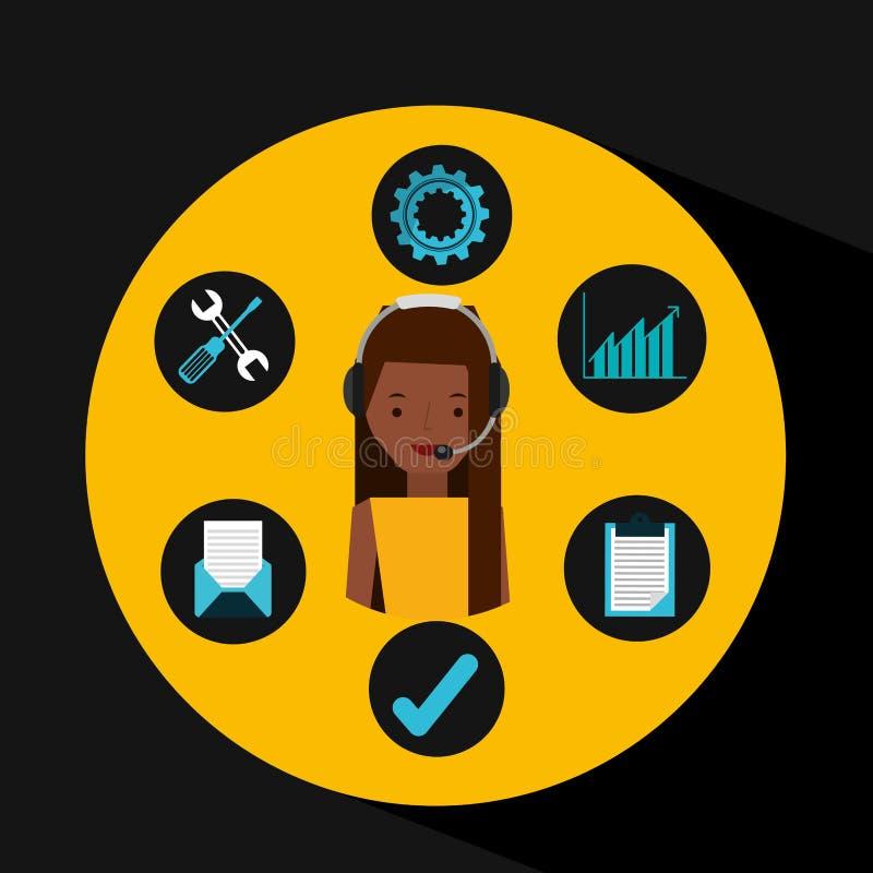 Auxílio do operador do apoio da menina do Afro ilustração do vetor