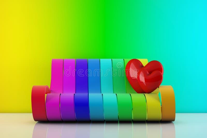 Aux coeurs d'amour restant sur un divan d'arc-en-ciel illustration stock