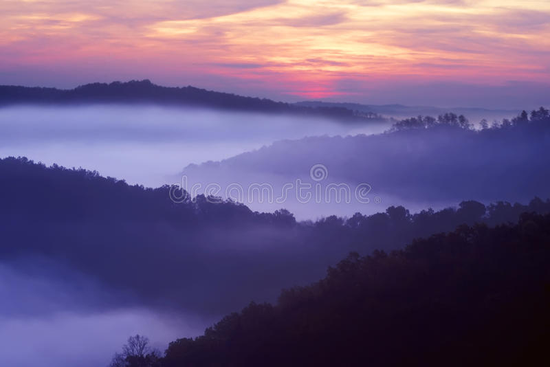 Auxier Ridge. Sunrise showing the layed mountains off Auxier Ridge. Red River Gorge area of the Daniel Boone National Forest in Kentucky, United States stock images