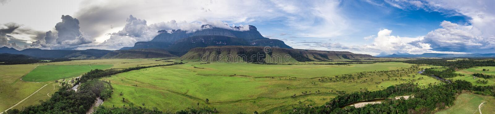 Panoramic View of Auyantepui Mountain, Venezuela stock photos