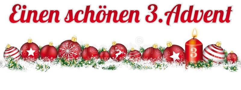 Avènement de la bougie 3 de bannière de neige de titre de babioles de Noël illustration stock