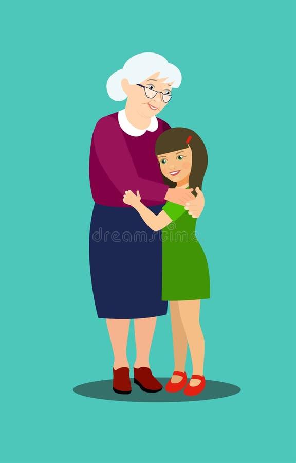 A avó abraça a neta ilustração stock