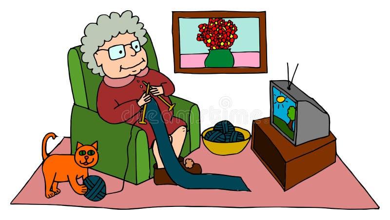 Avó bonito que faz malha ao sentar-se na poltrona ilustração do vetor