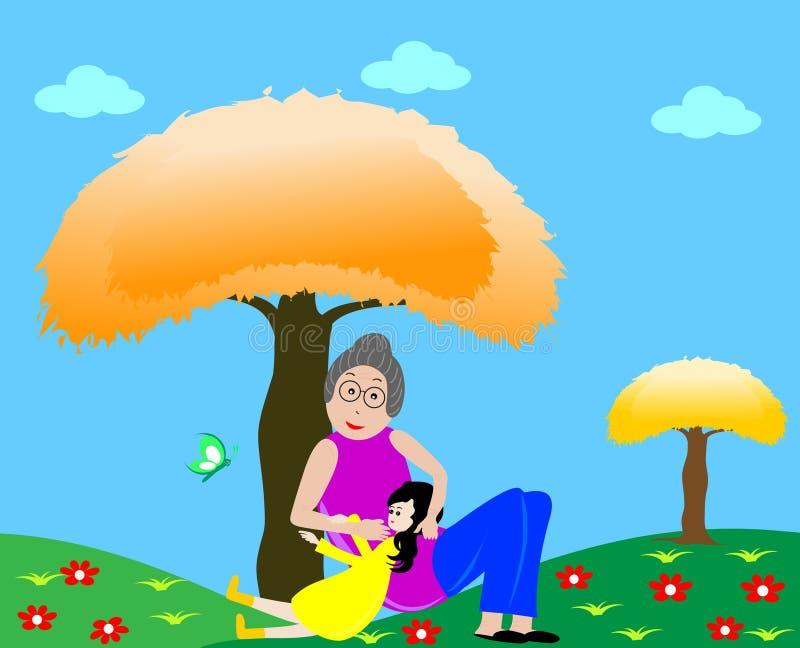 Avó com neta ilustração do vetor