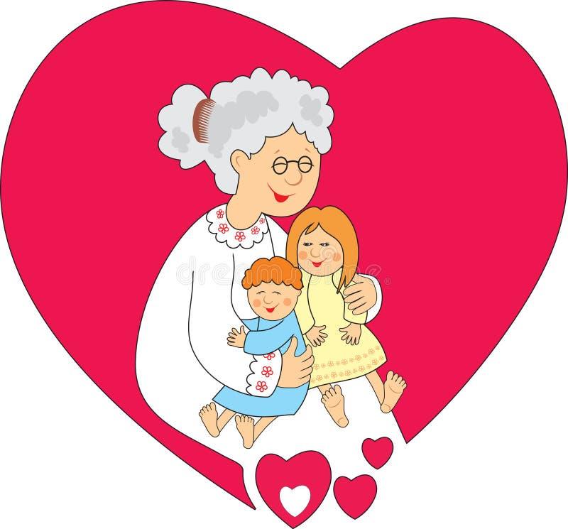 Avó com netos pequenos ilustração royalty free