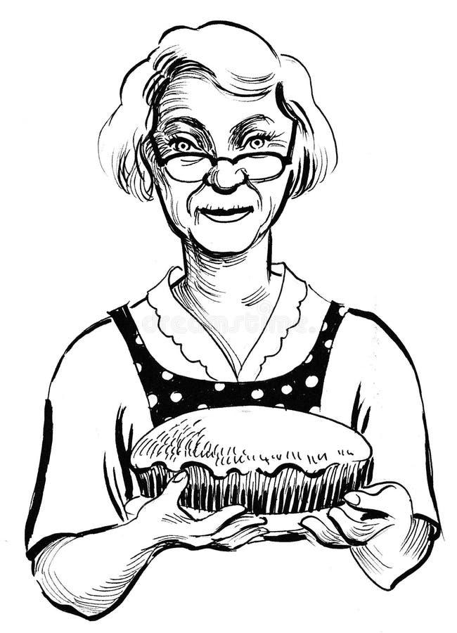 Avó com uma torta ilustração royalty free