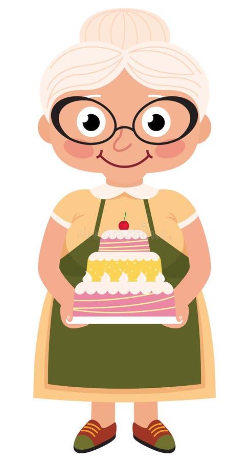 A avó cozeu um bolo ilustração royalty free