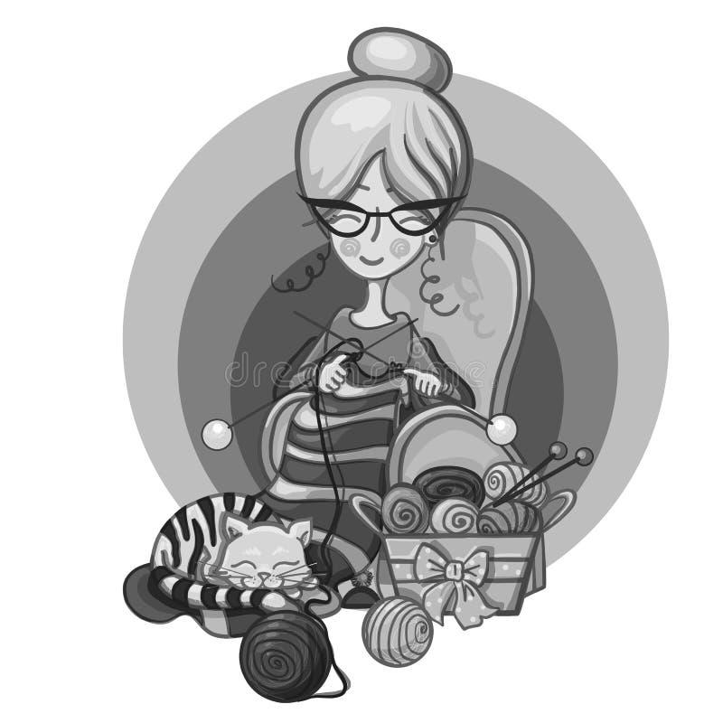 A avó da mulher senta-se em uma cadeira e nas agulhas de confecção de malhas listradas, sono do gato nela que faz malha em torno  ilustração do vetor