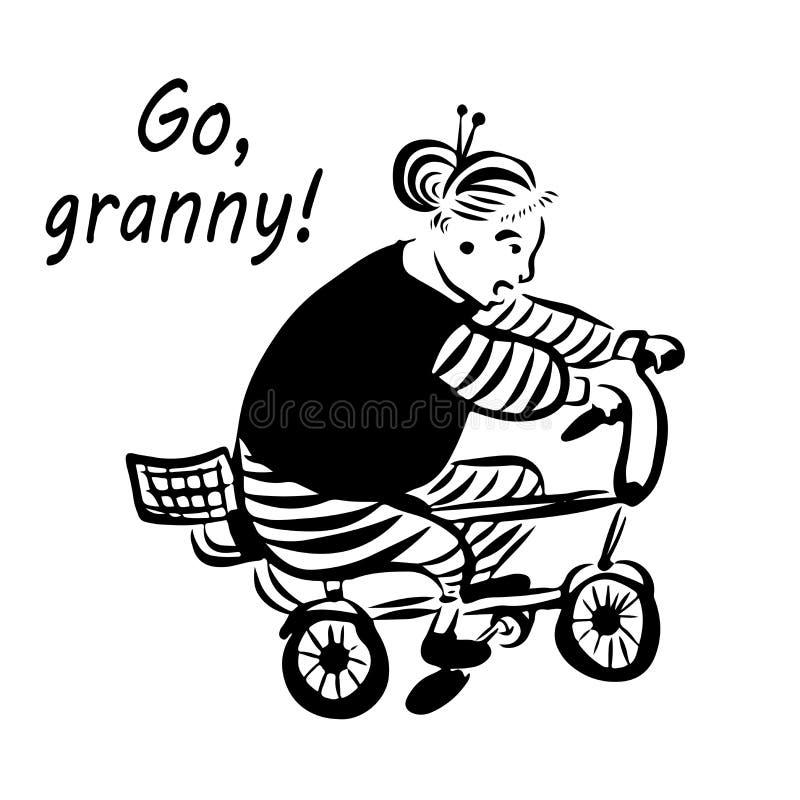 A avó do ` do desenho da imagem, aproxima-se! do ` avó engraçada alegre completamente que monta um neto da bicicleta, esboço digi ilustração royalty free