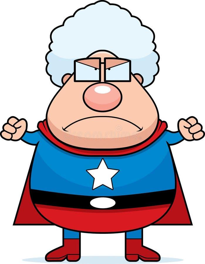 Avó do super-herói irritada ilustração do vetor