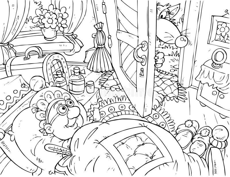 Avó e lobo ilustração do vetor