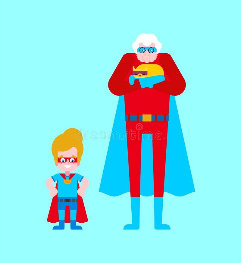 Avó e neto do super-herói Avó super no casaco e na máscara Mulher adulta das superpotências Vetor do estilo dos desenhos animados ilustração stock
