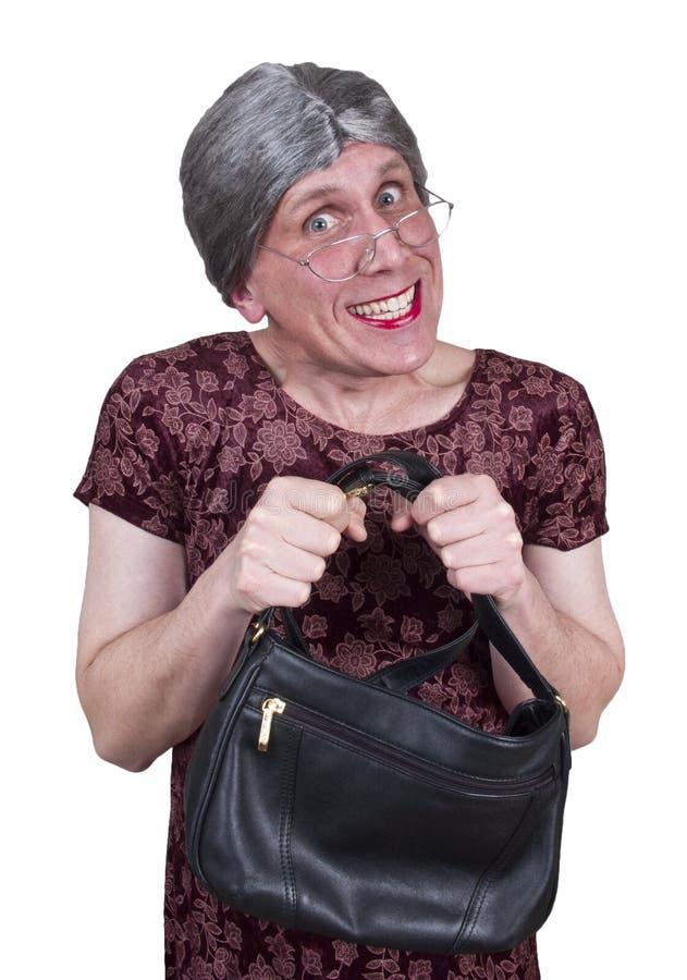 Avó feia engraçada, avó, ou tia nova tímida imagens de stock
