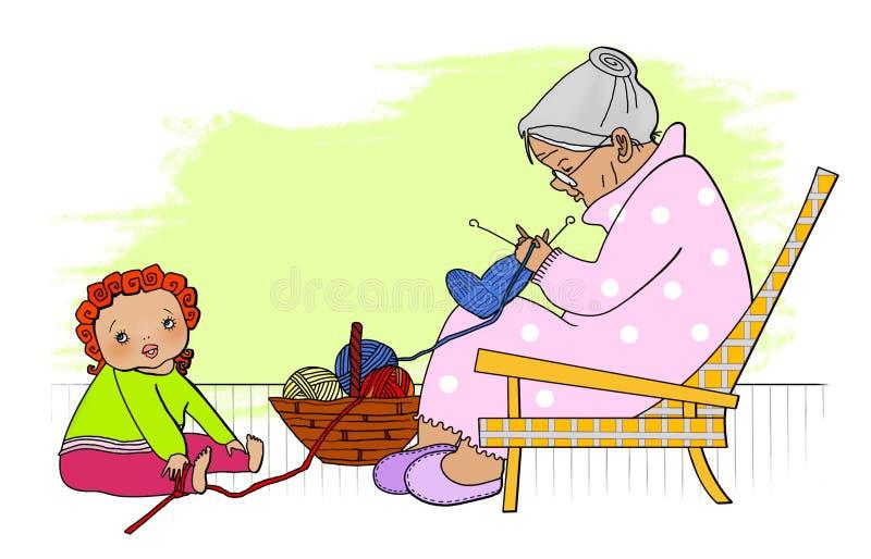 Avó idosa do baby-sitter A criança pequena é furada amarrada à avó idosa do baby-sitter com confecção de malhas ilustração stock