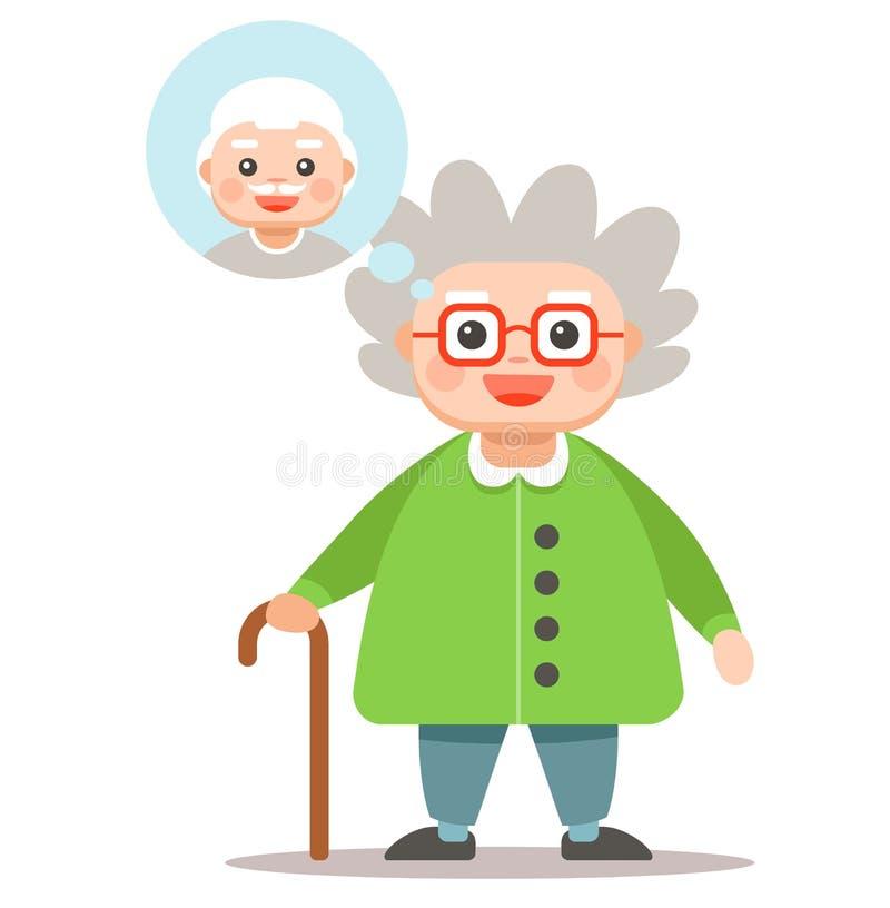 A avó pensa sobre seu homem ilustração stock
