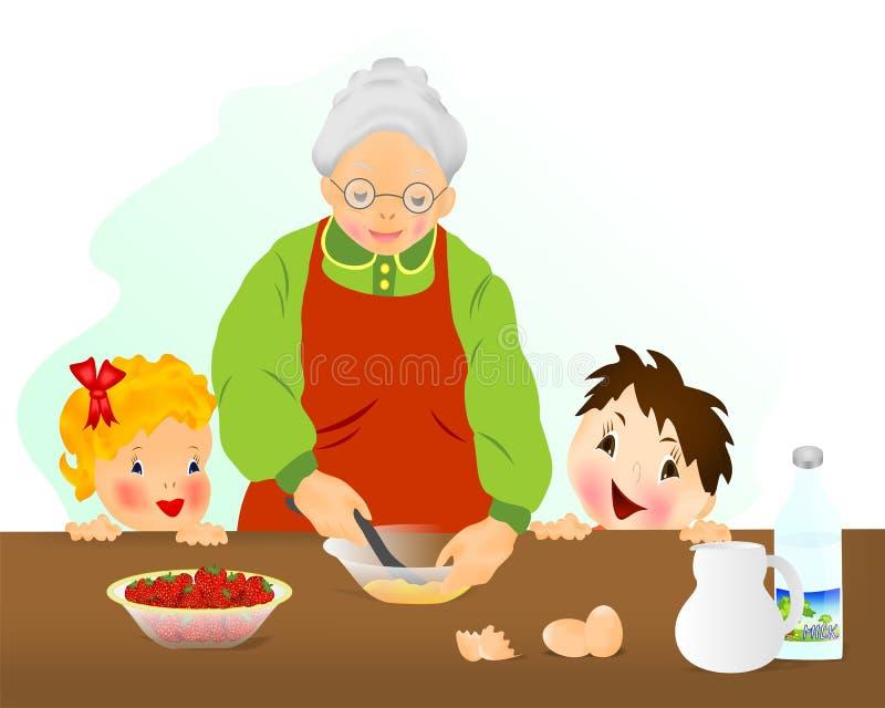 Avó que prepara o bolo ilustração royalty free
