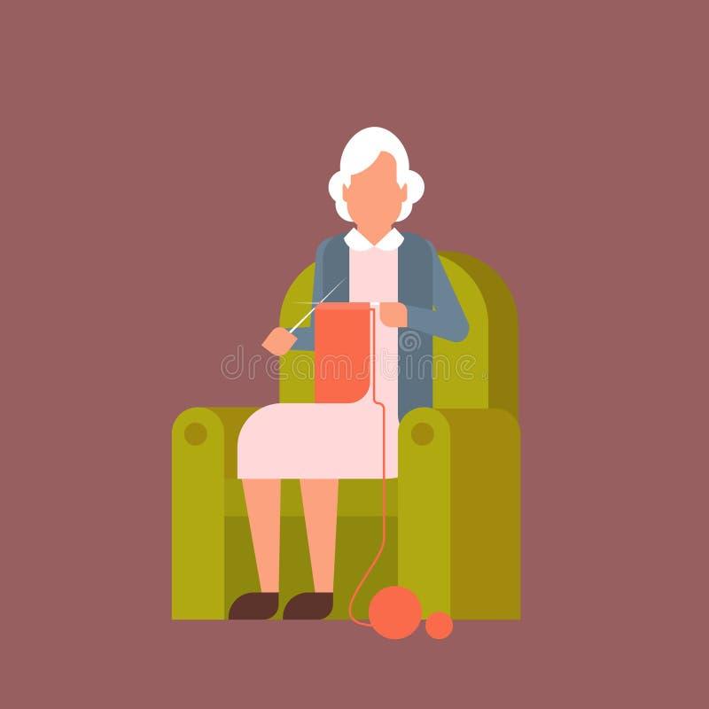 Avó que senta-se na poltrona Kniting ilustração stock
