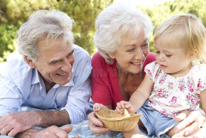 Avós e neta que apreciam o piquenique junto fotografia de stock royalty free