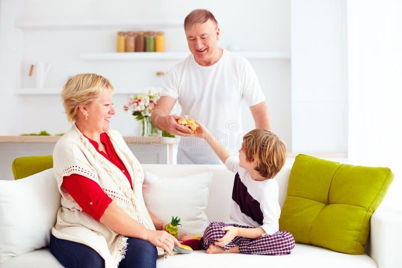 Avós felizes que jogam com neto em casa imagens de stock
