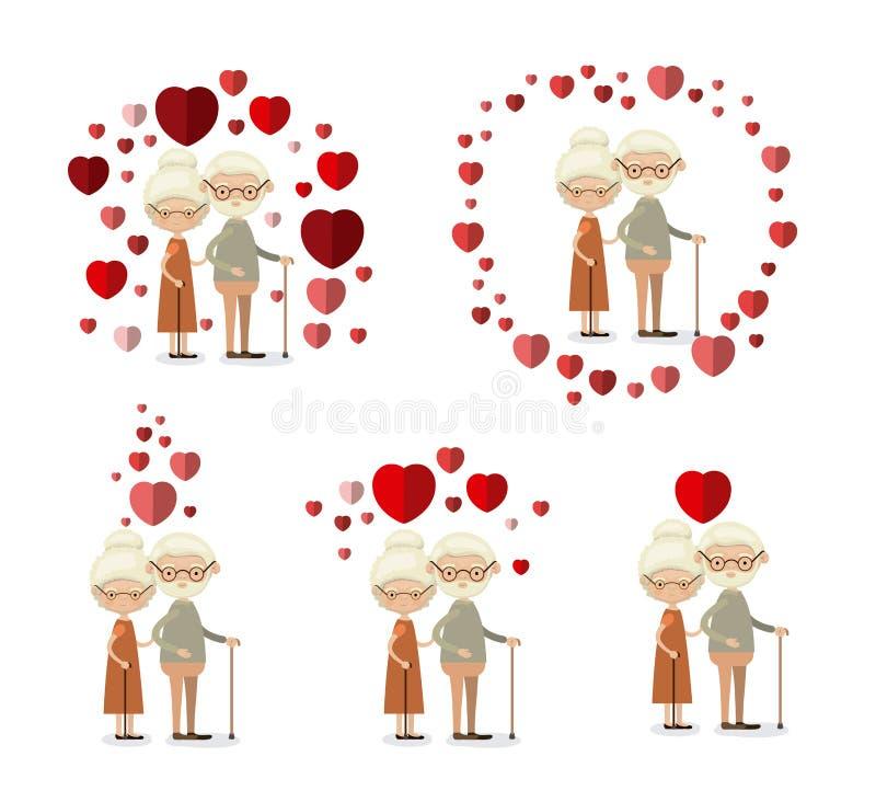Avós idosas do inlove dos pares do corpo completo ajustado branco do fundo com os corações que flutuam ao redor ilustração do vetor