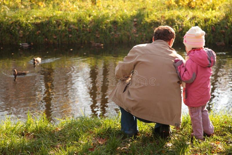 Avô com a neta na madeira no outono l fotos de stock
