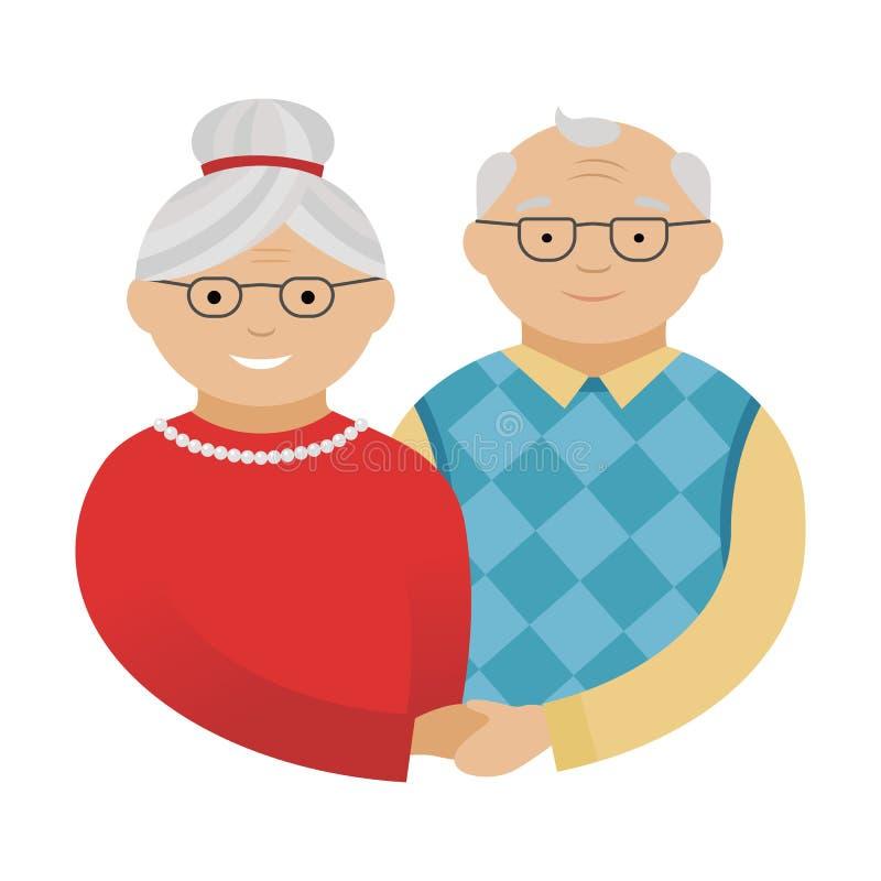 Avô e avó Grandparents felizes ilustração do vetor