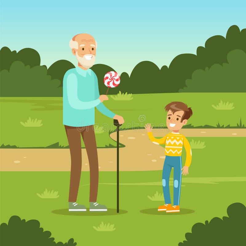 Avô que dá doces doces à criança ilustração do vetor
