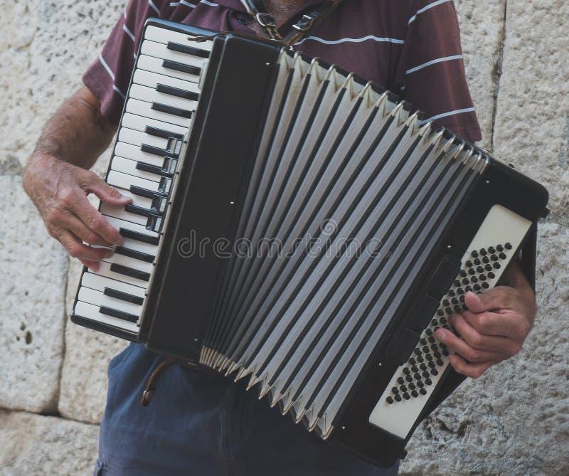 Avô que joga no acordeão imagem de stock