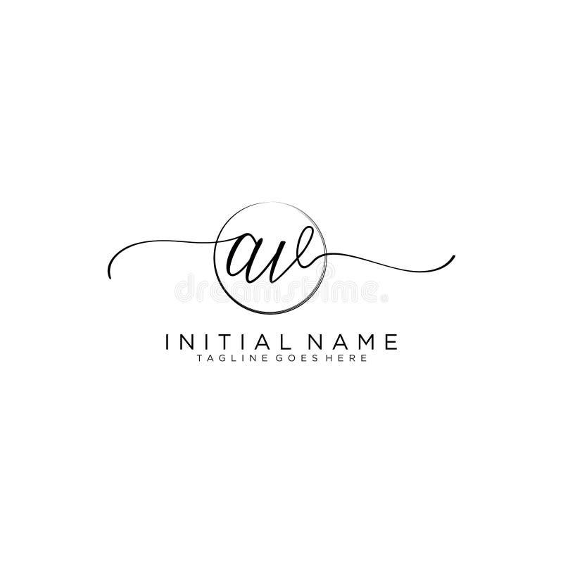 AV Beauty vector initial logo, handwriting logo of initial signature stock illustration